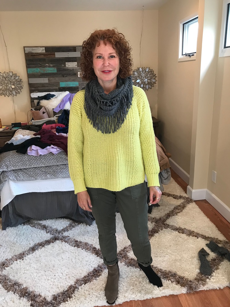lou and grey yellow sweater, lou and grey yellow knit sweater, olive green pants, grey fringe scarf, c la cannabienns tan suede booties