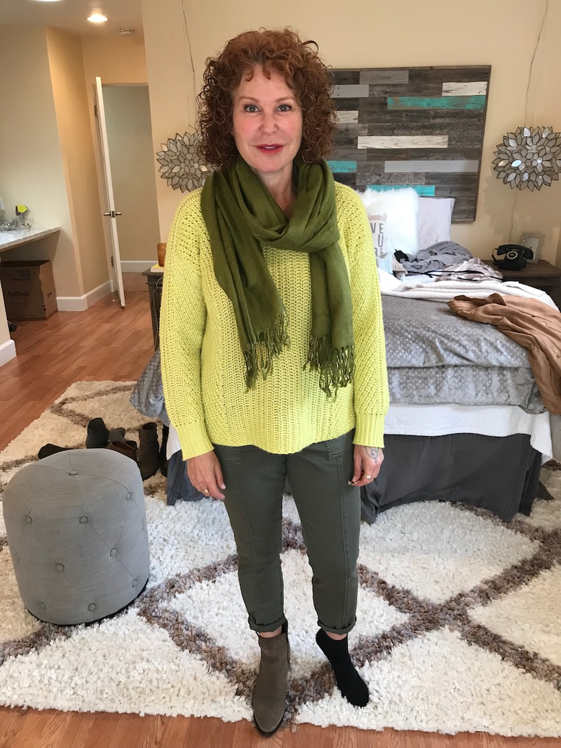 lou and grey yellow sweater, lou and grey yellow knit sweater, dark green pants, pea green fringe scarf, c la cannabienns tan suede booties