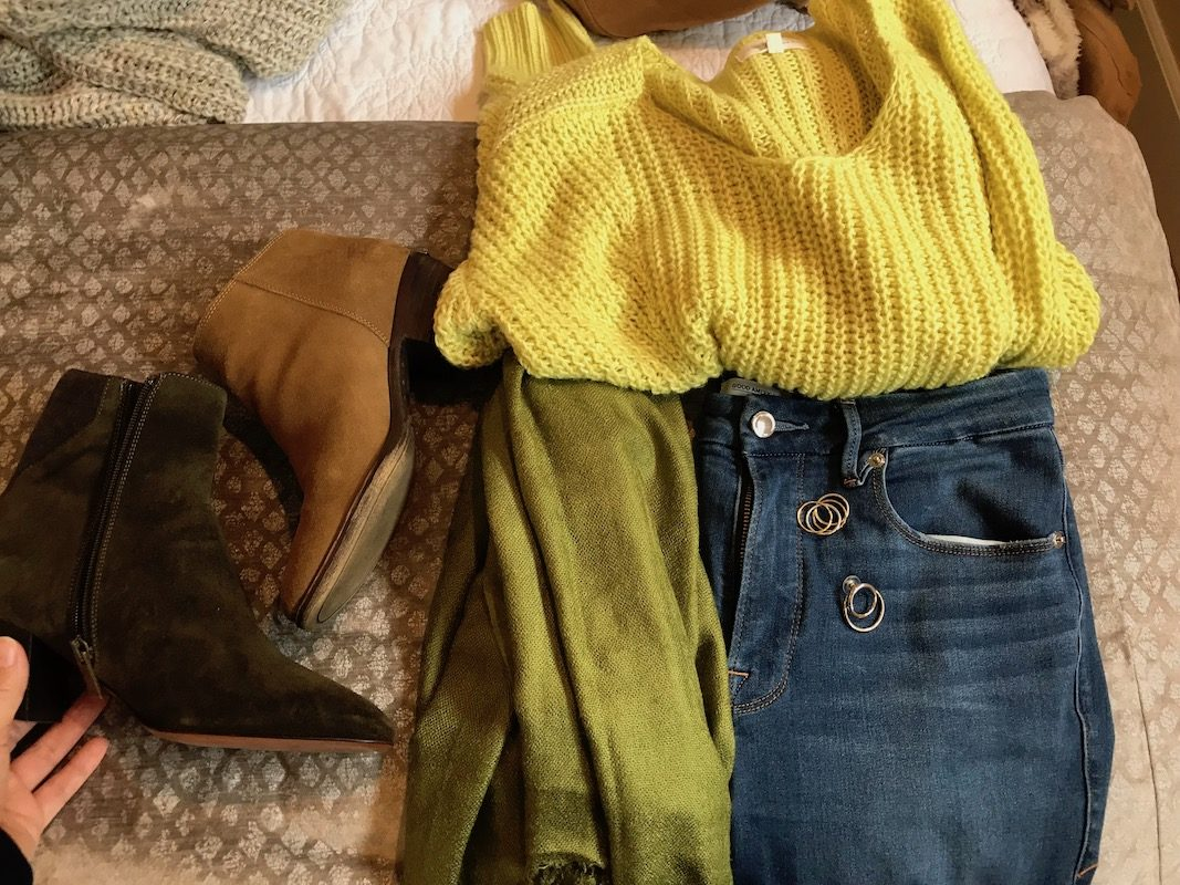 lou and grey yellow sweater, lou and grey yellow knit sweater, pea green scarf, good american medium blue jeans, good american medium blue denim, lucky brand tan suede booties, aquatalia dark green suede booties