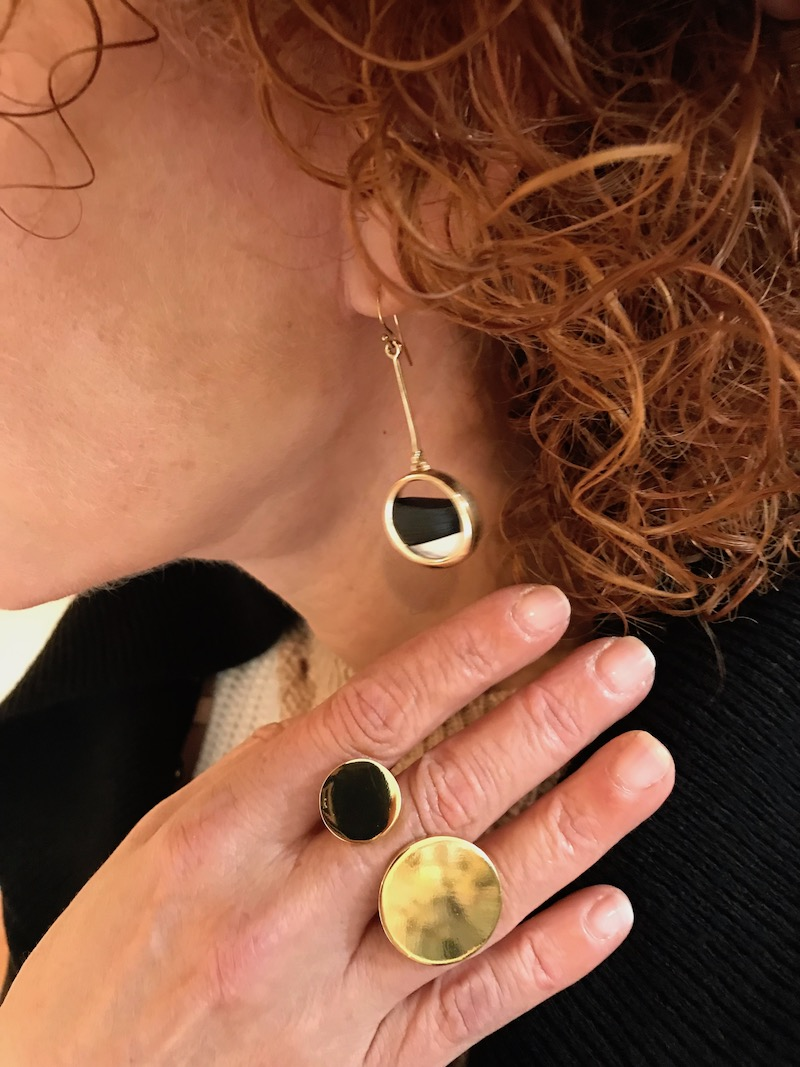 gold and black circle cut out drop earrings, gold and black statement ring