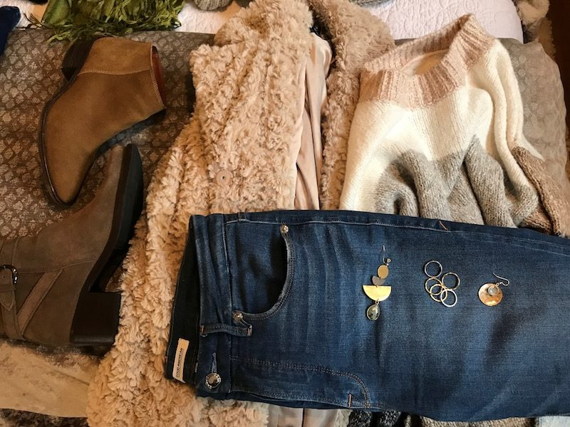 lou and grey multi-color sweater, lou and grey striped sweater, good american medium blue jeans, good american medium blue denim, lucky brand tan suede booties, kenneth cole cream faux fur coat, c la cannabienns tan suede booties
