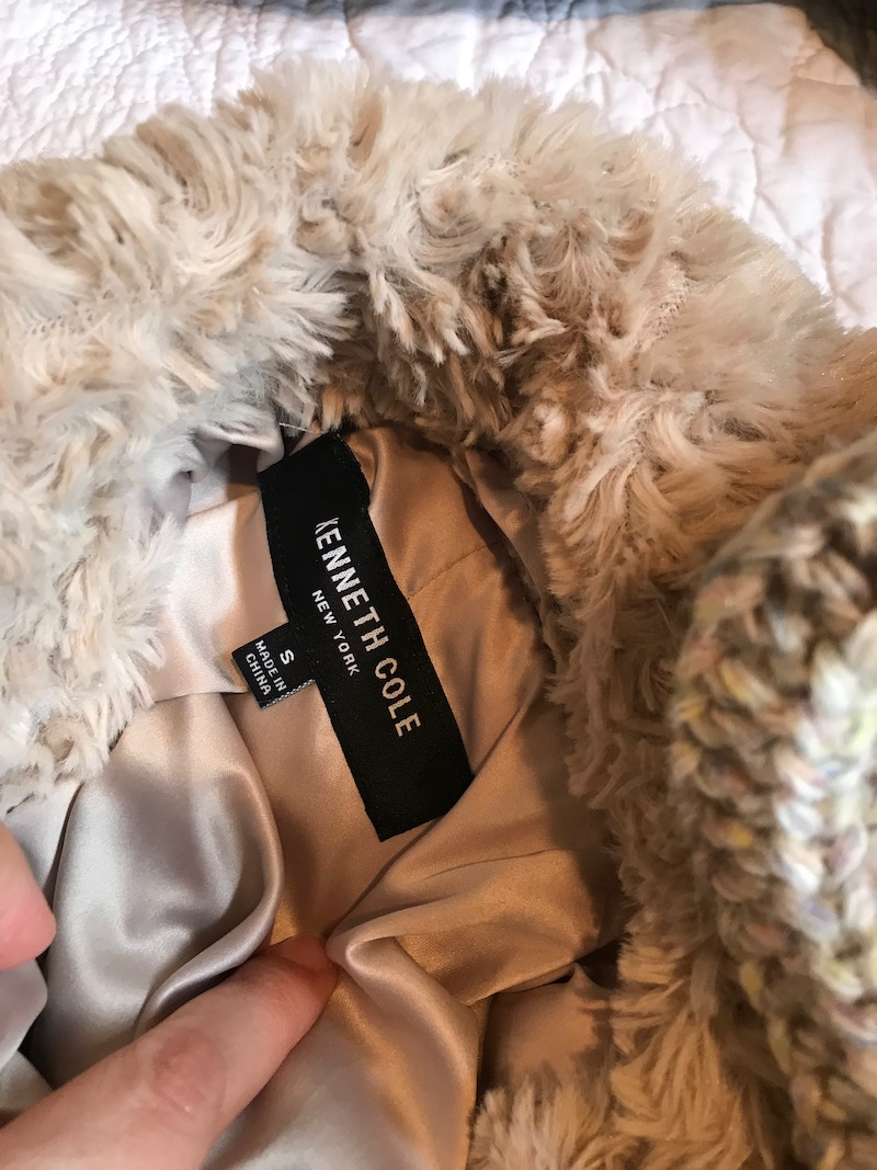 kenneth cole cream faux fur coat