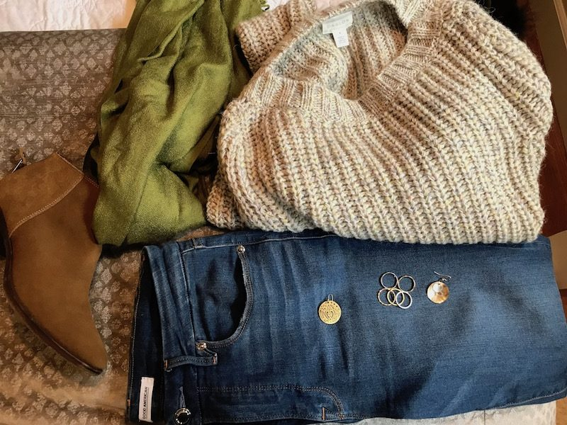 caslon light grey and light green sweater, caslon light grey and light green knit sweater, caslon light grey and light green crew neck sweater, good american medium blue jeans, good american medium blue denim, pea green scarf, lucky brand tan suede booties