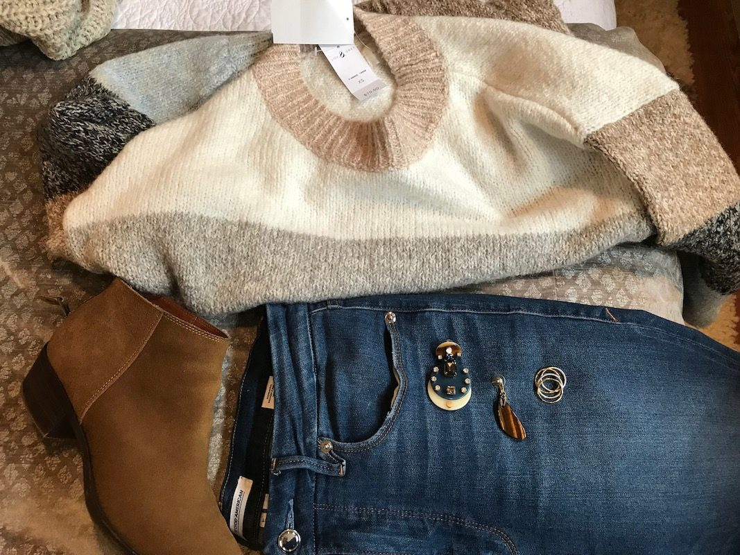 lou and grey multi-color sweater, lou and grey striped sweater, good american medium blue jeans, good american medium blue denim, lucky brand tan suede booties