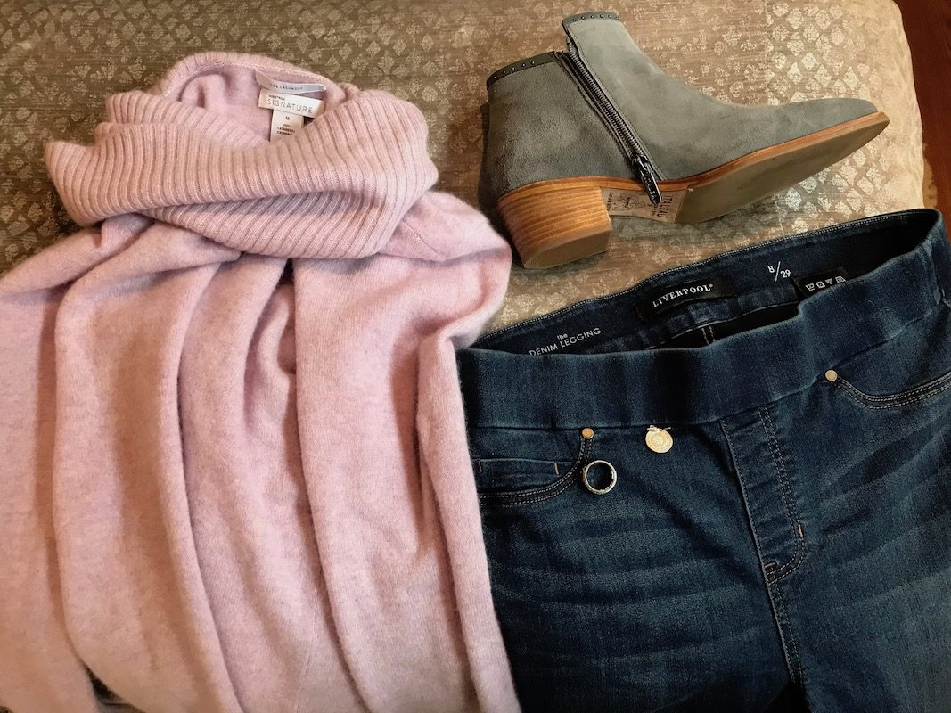 nordstrom signature pink sweater, grey suede booties, liverpool medium blue jeans