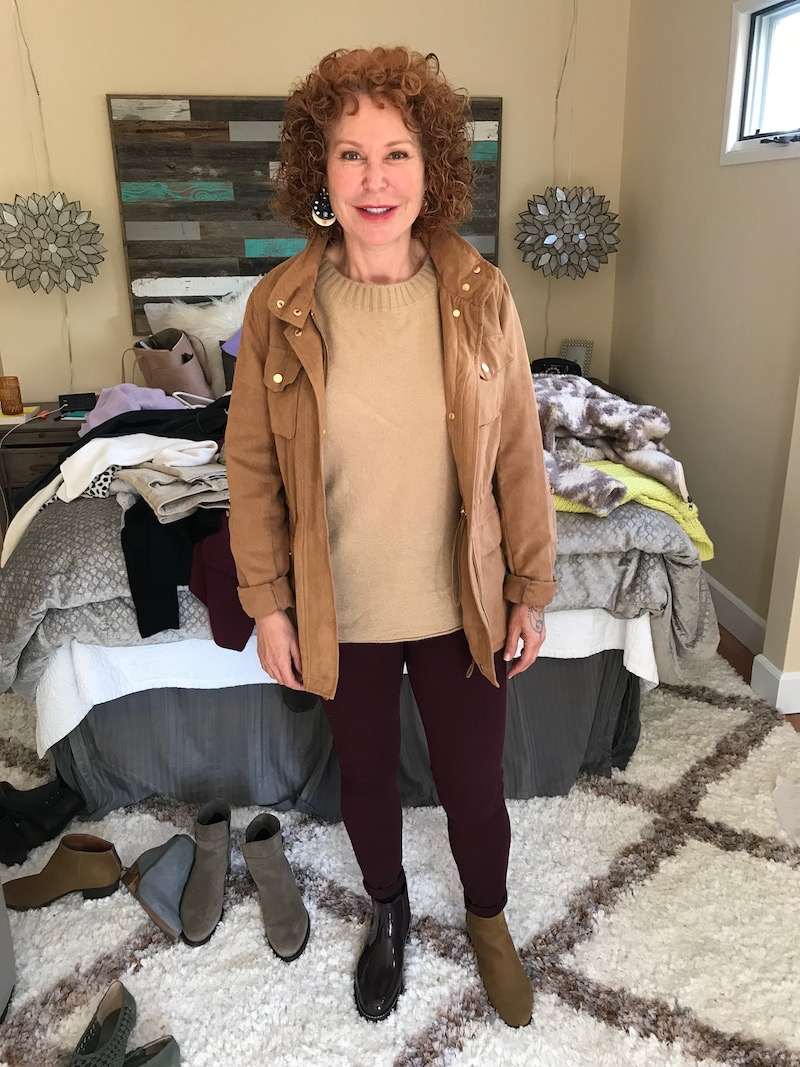 vince tan sweater, vince camuto tan suede jacket, good american burgundy jeans, black patent booties, lucky bran tan suede booties