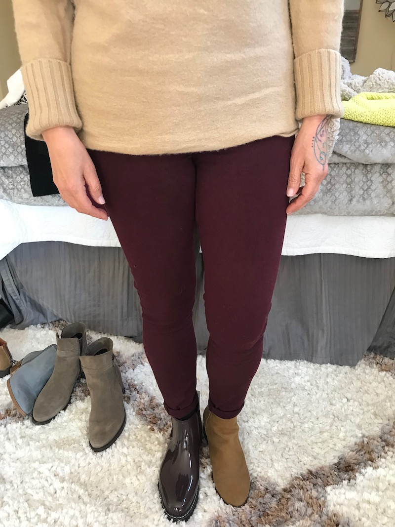 cougar burgundy patent booties, lucky brand tan suede booties