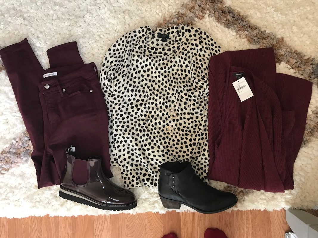 j.crew printed sweater, j.crew white and black sweater, good american burgundy jeans, josef seibel black booties, cougar burgundy patent booties, halogen burgundy sweater