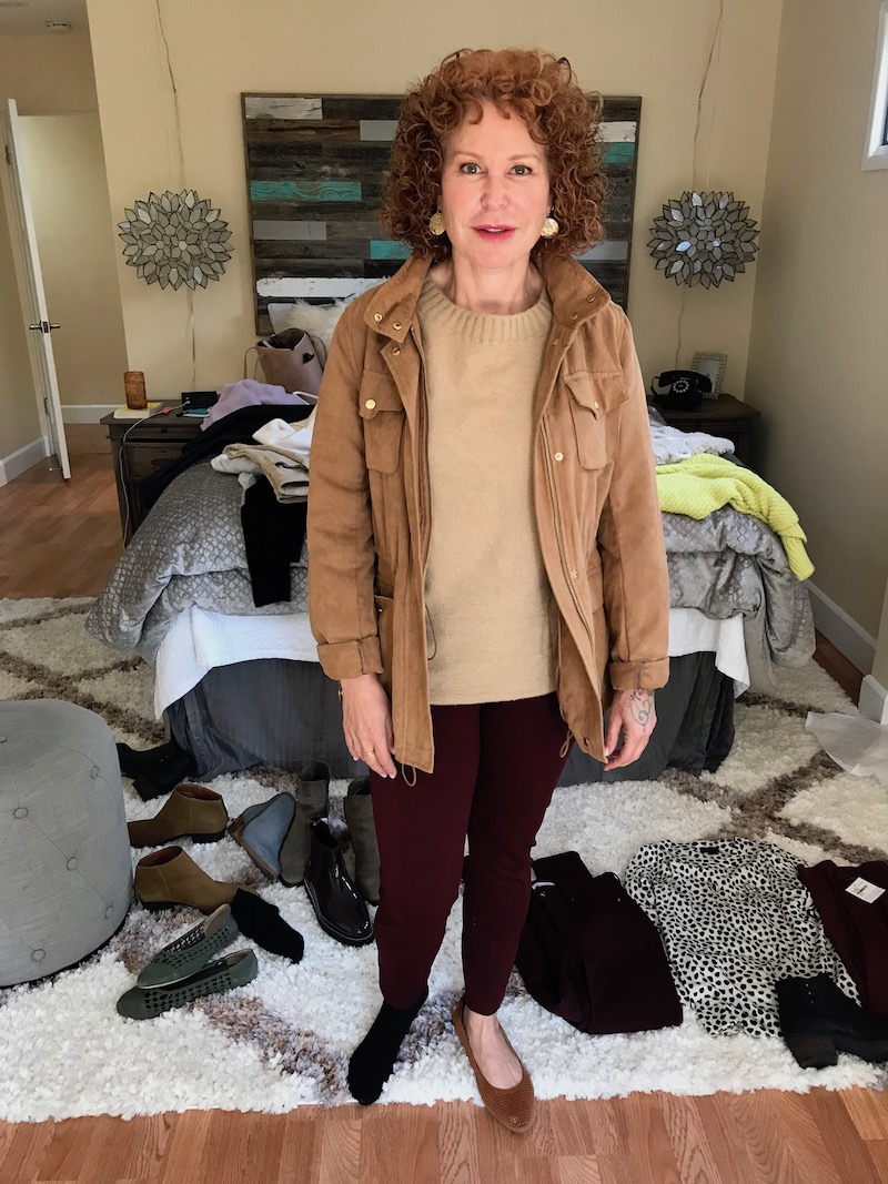 vince tan sweater, vince camuto tan suede jacket, good american burgundy jeans, vince tan pointy toe flats