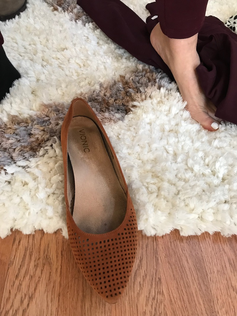 vince tan pointy toe flats