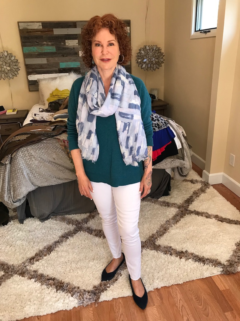 halogen teal sweater, nydj white jeans, nydj white pants, light blue printed scarf, vionic navy blue suede pointy toe flats