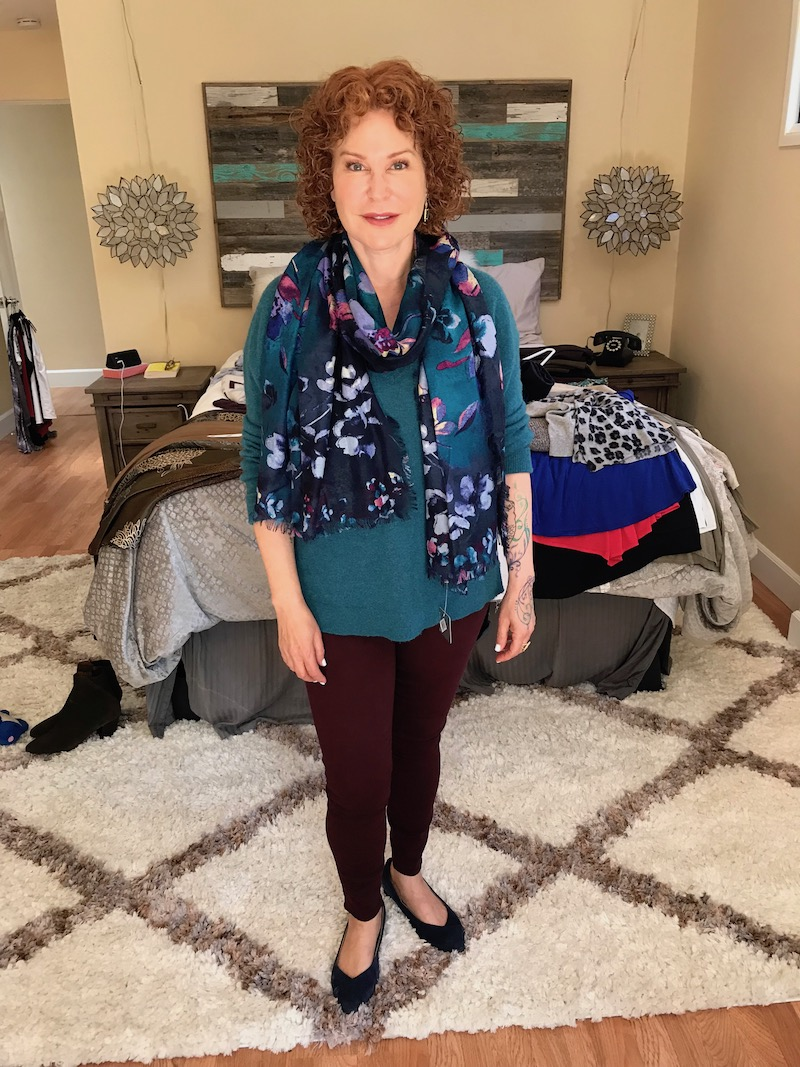 halogen teal sweater, good american burgundy jeans, blue multi-color printed scarf, vionic navy blue suede pointy toe flats