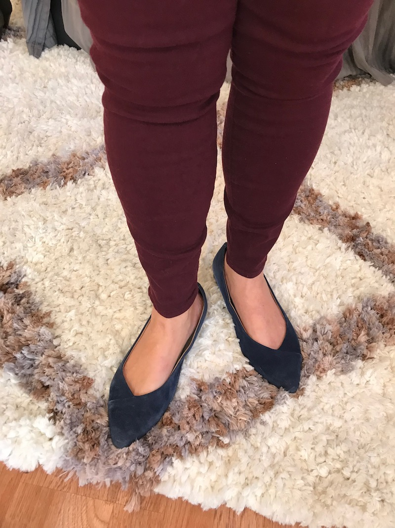 vionic navy blue suede pointy toe flats
