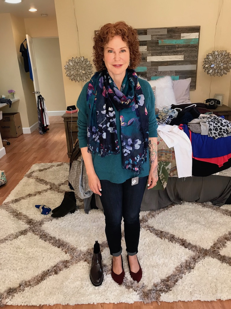 halogen teal sweater, blue multi-color printed scarf, vionic red suede pointy toe flats, dark blue jeans, burgundy rain booties