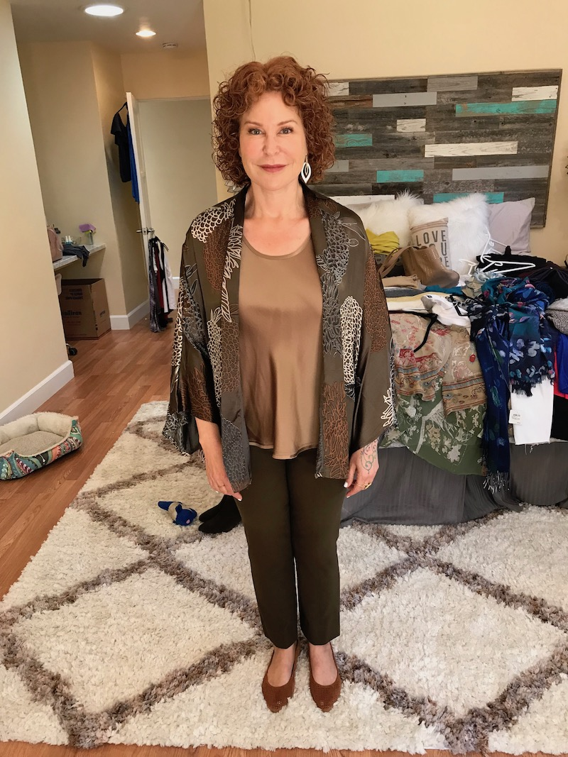 vince tan tank top, vince tan u-neck tank top, chico's brown animal print shawl, vince brown pants, vionic tan perforated pointy toe flats