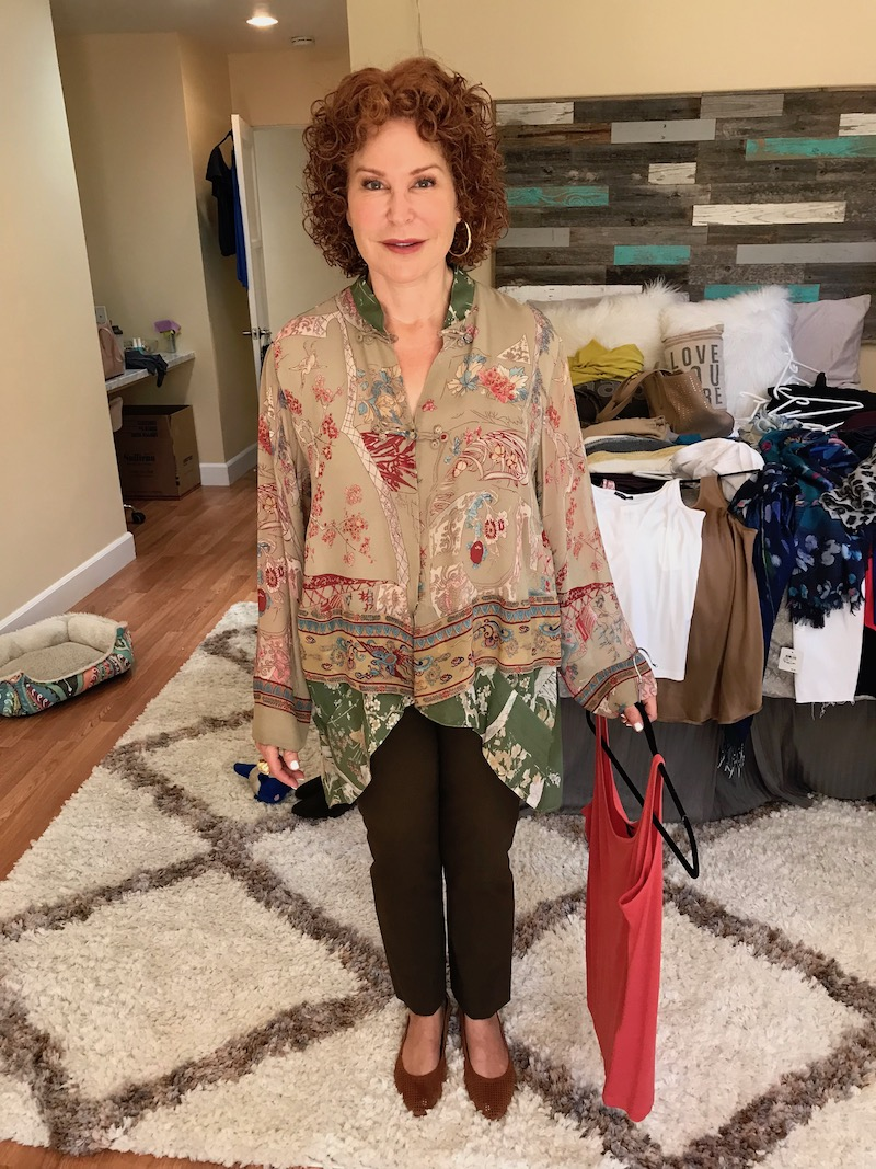 eileen fisher pink tank top, eileen fisher pink u-neck tank top, citron tan multi-color printed shawl, vince brown pants, vionic tan perforated pointy toe flats