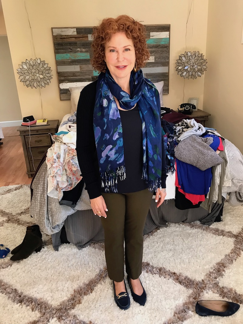 ann taylor navy blue tank top, ann taylor navy blue u-neck tank, vince navy blue sweater, blue multi-color printed scarf, vince brown pants, vionic navy blue pointy toe flats, navy blue suede loafers