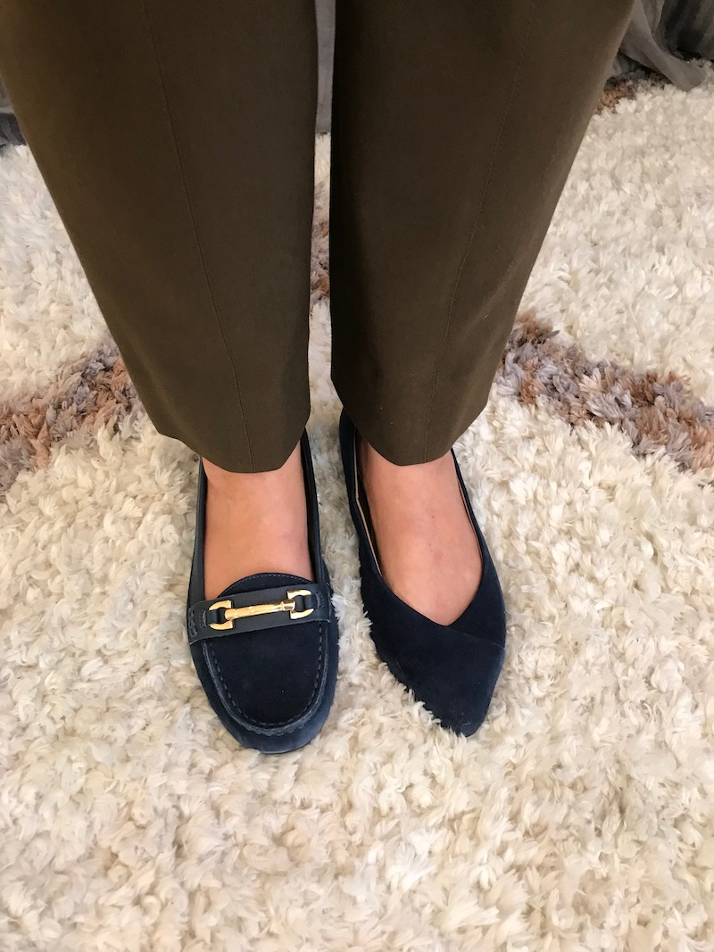 vionic navy blue pointy toe flats, navy blue suede loafers