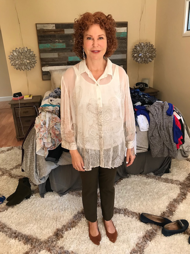 chicos white lace blouse, chicos white button up blouse, chicos white collared blouse, eileen fisher white tank top, vince brown pants, vionic tan perforated pointy toe flats