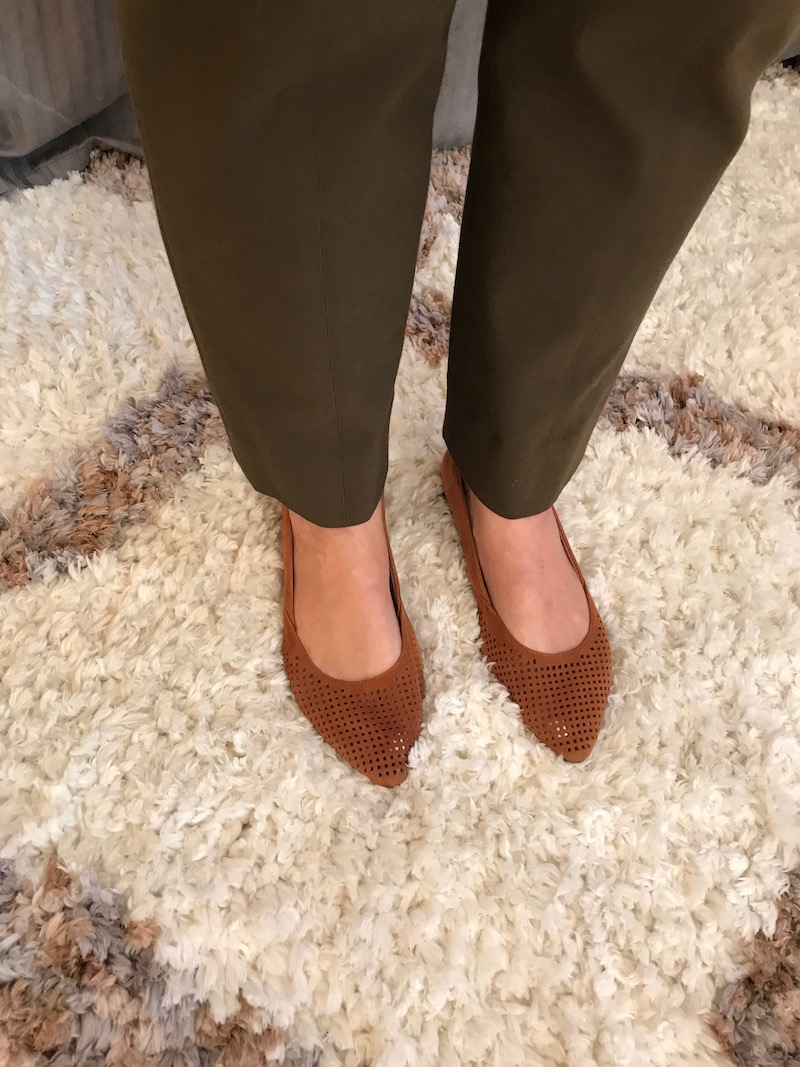 vionic tan perforated pointy toe flats