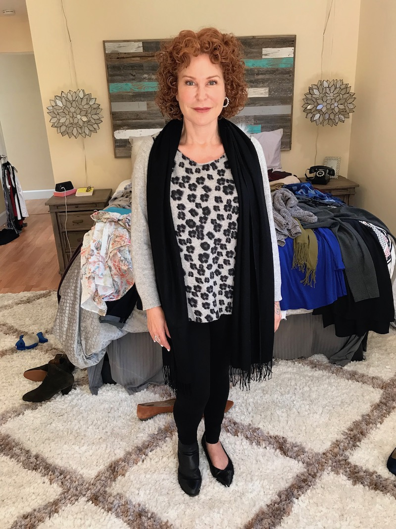 charter club grey leopard print sweater, black fringe edge scarf, two by vince camuto black kleggings, josef seibel black booties, vionic black pointy toe flats