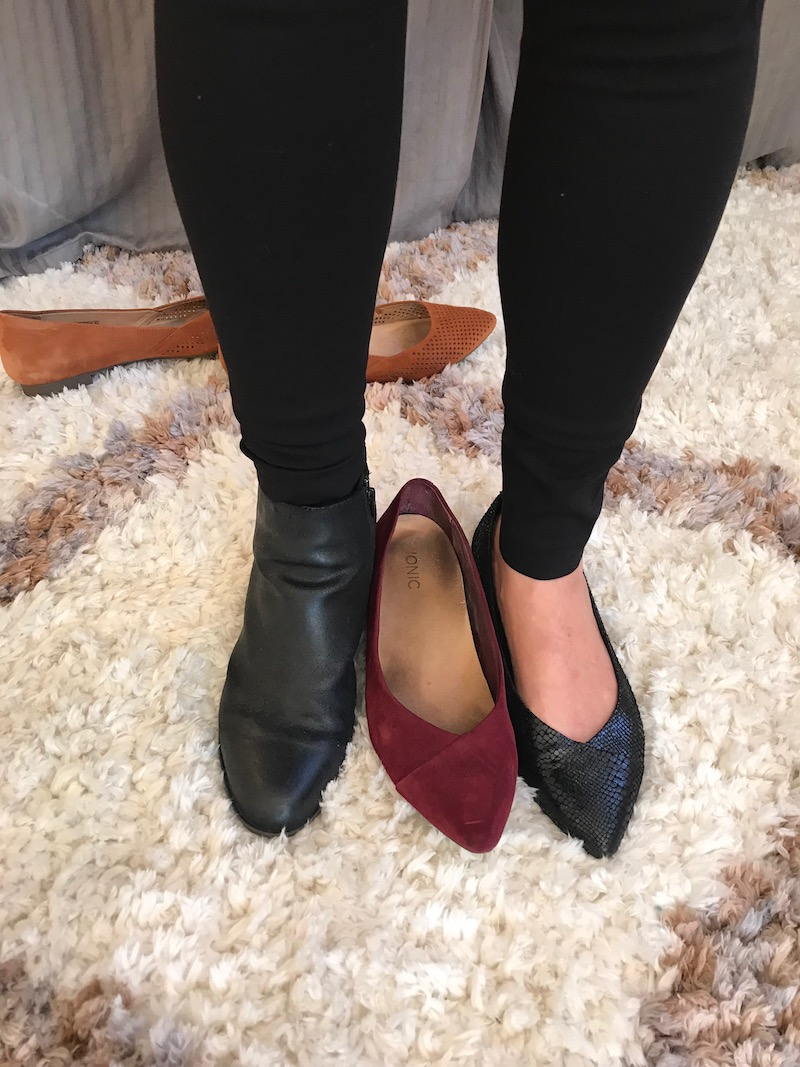 josef seibel black booties, vionic black pointy toe flats, vionic red suede pointy toe flats