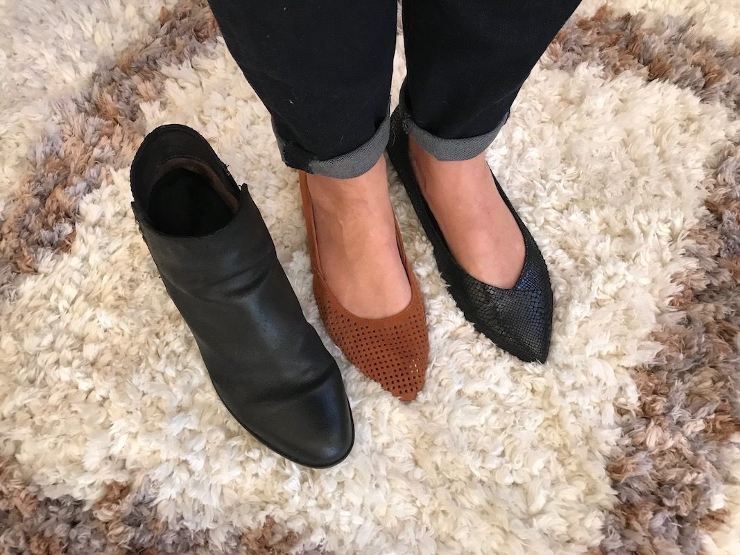 josef seibel black booties, vionic black pointy toe flats, vionic tan perforated pointy toe flats