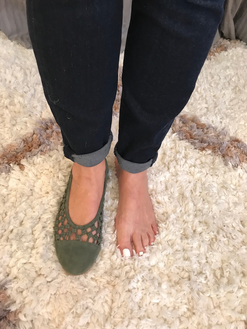 olive green suede round toe flats