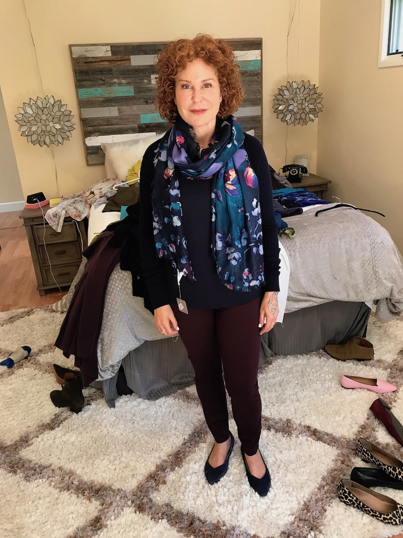 ann taylor navy blue tank top, vince navy blue sweater, blue multi-color printed scarf, burgundy pants, vionic navy blue suede pointy toe flats
