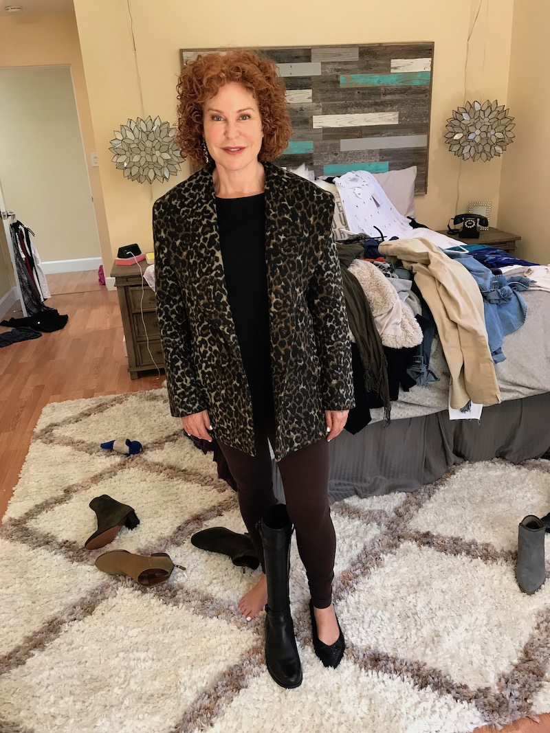 eileen fisher black tank top, hinge leopard print coat, brown leggings, vionic black pointy toe flats, black knee high boots