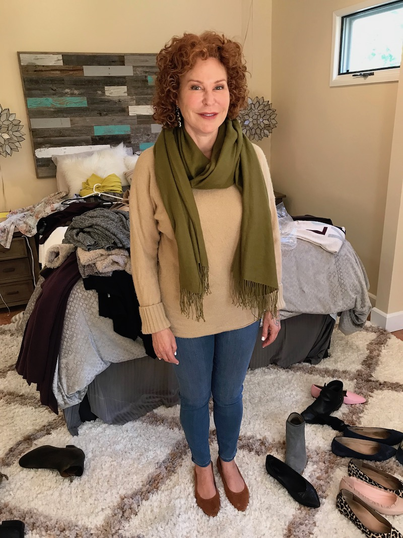 vince beige sweater, medium blue jeans, pea green fringe edge scarf, vionic tan perforated pointy toe flats