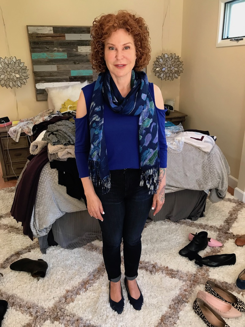 halogen blue top, halogen blue 3/4 sleeve top, blue multi-colro printed sacrf, good american dark blue jeans, vionic navy blue pointy toe flats