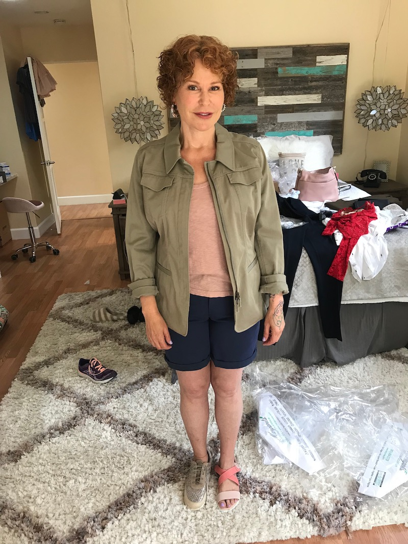 light pink tee, army green jacket, wit and wisdom blue shorts, l'amour de pieds beige sneakers, ecco pink strappy sandals