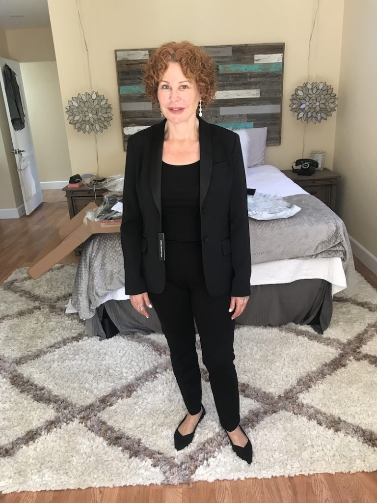 black shirt, black pants, black blazer, Rothys black flats