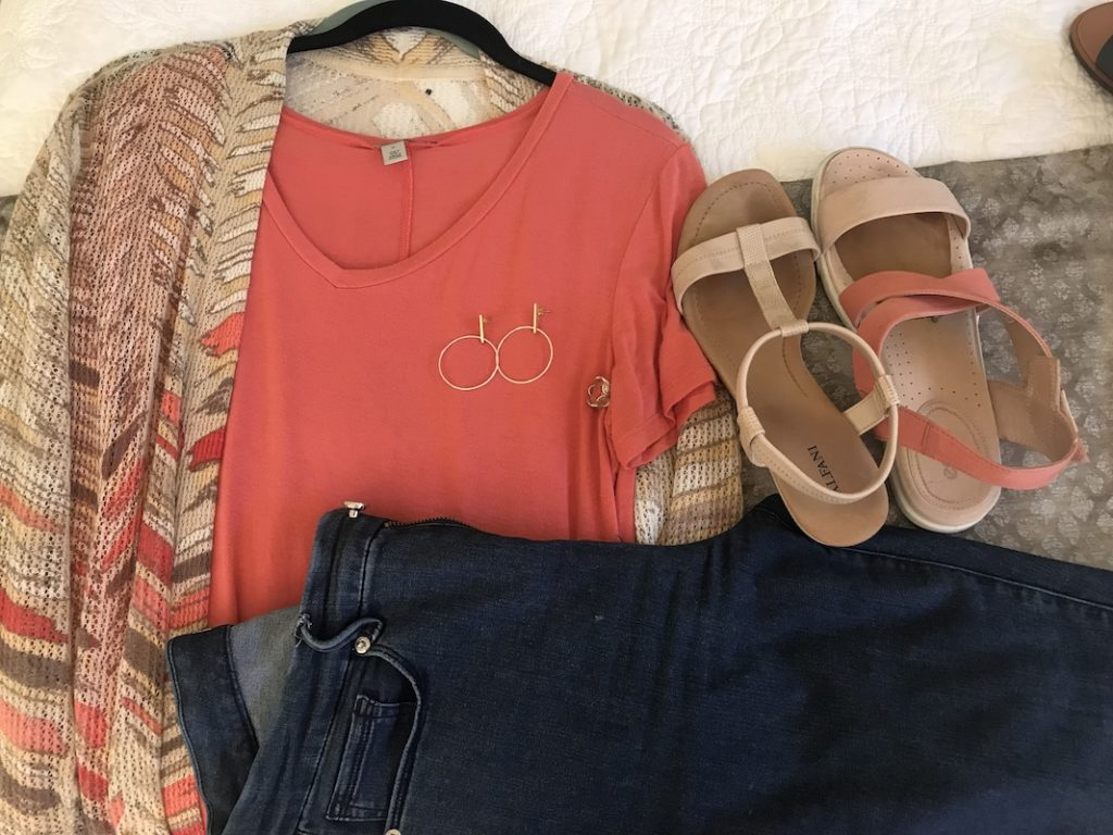 Halogen coral tshirt, multi colored cardigan, Good American dark blue jeans, Ecco pink and cream sandals, Alfani white sandals, gold drop hoops, gold ring