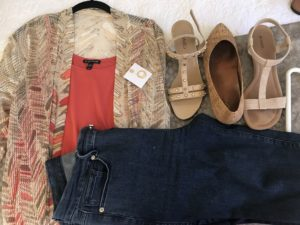 Eileen Fisher coral tank top, multicolored cardigan, Good American dark blue jeans, Vionic cork flats, Alfani cream sandals, Vaneli tan sandals