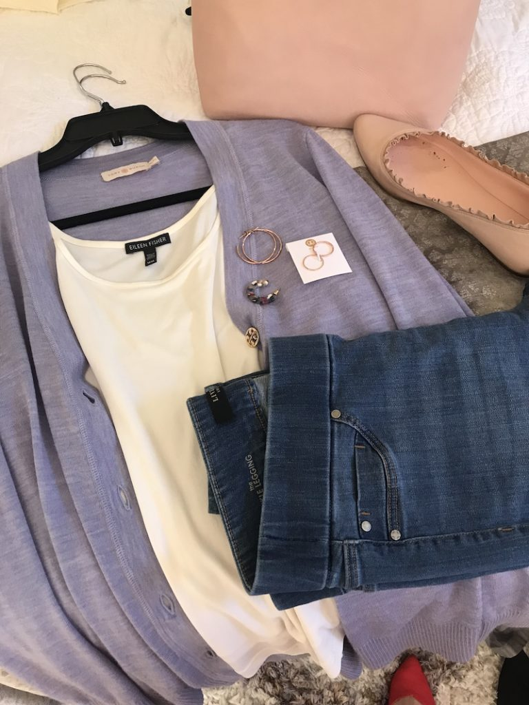 Eileen Fisher white top, Liverpool blue jean leggings, Tory Burch Lavender cardigan, gold hoops, gold rings, multicolored hoops, Kate Spade pink ruffled flats