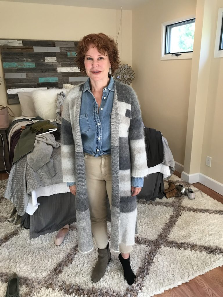 J crew chambray jean shirt, Eileen Fisher gray cream tan long sweater, Joe's tan jeans, gray brown boots