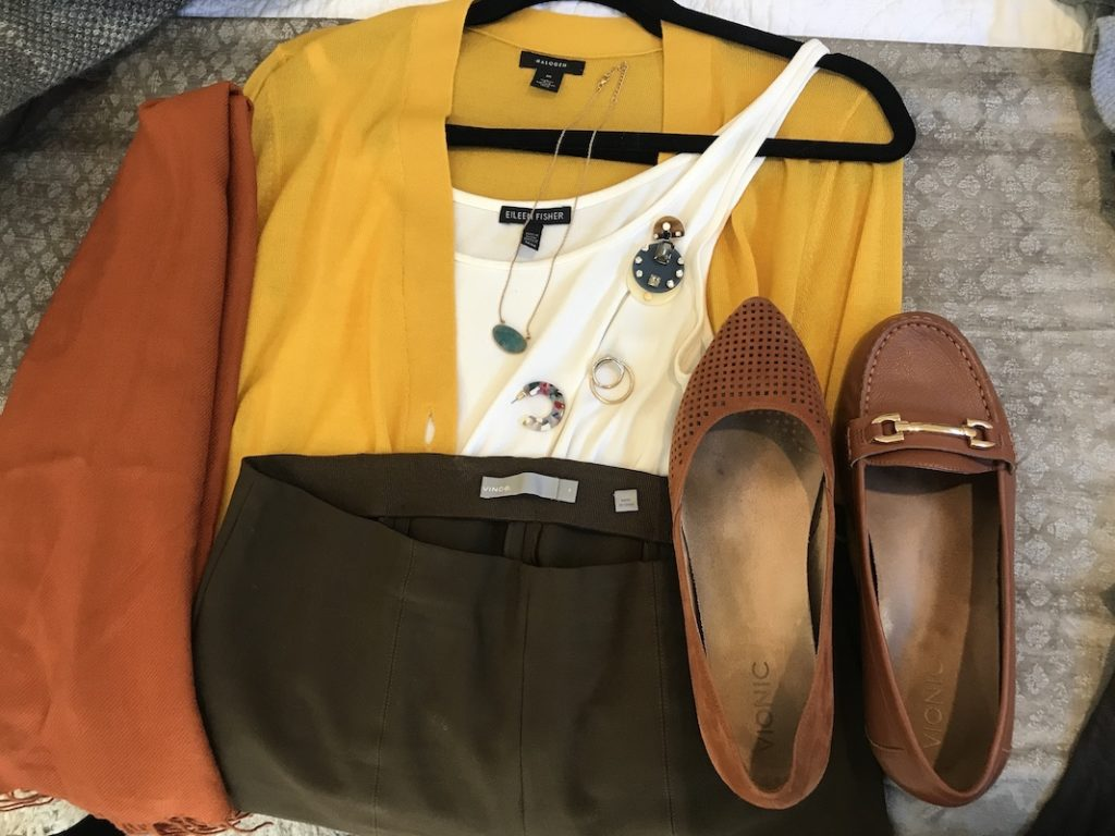 Eileen Fisher white tank top, Vince olive green pants, Halogen yellow sweater, brown flats, orange scarf, multi color acetate hoops, green stone necklace, statement earrings, gold rings