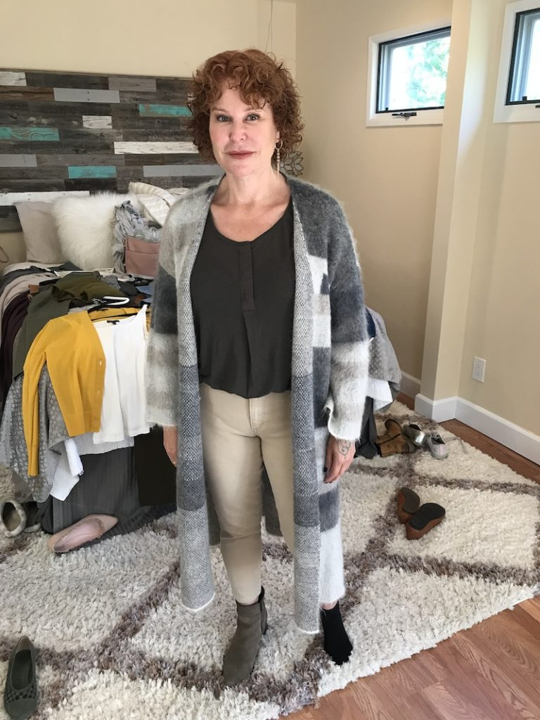 Caslon olive green top, Joe's cream jeans, Eileen Fisher multi color long sweater, gray boots