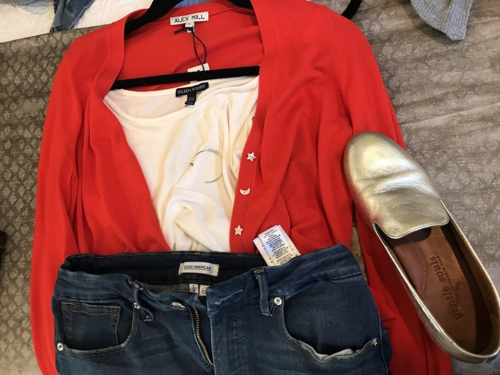 Eileen Fisher Cream T shirt, Good American Dark Blue jeans, Alex Mill red cardigan, Gentle Souls gold flats