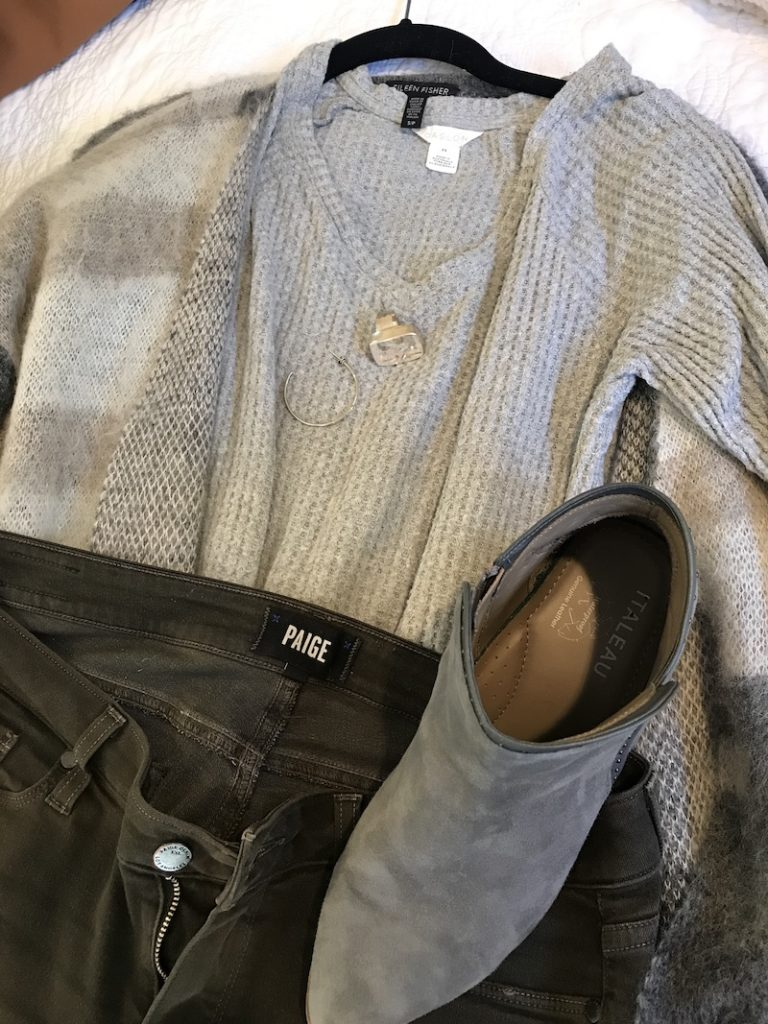 Caslon grey sweater, Paige dark grey jeans, Eileen Fisher gray and white multi color sweater, Italeau grey boots, silver hoops, diamond statement earrings