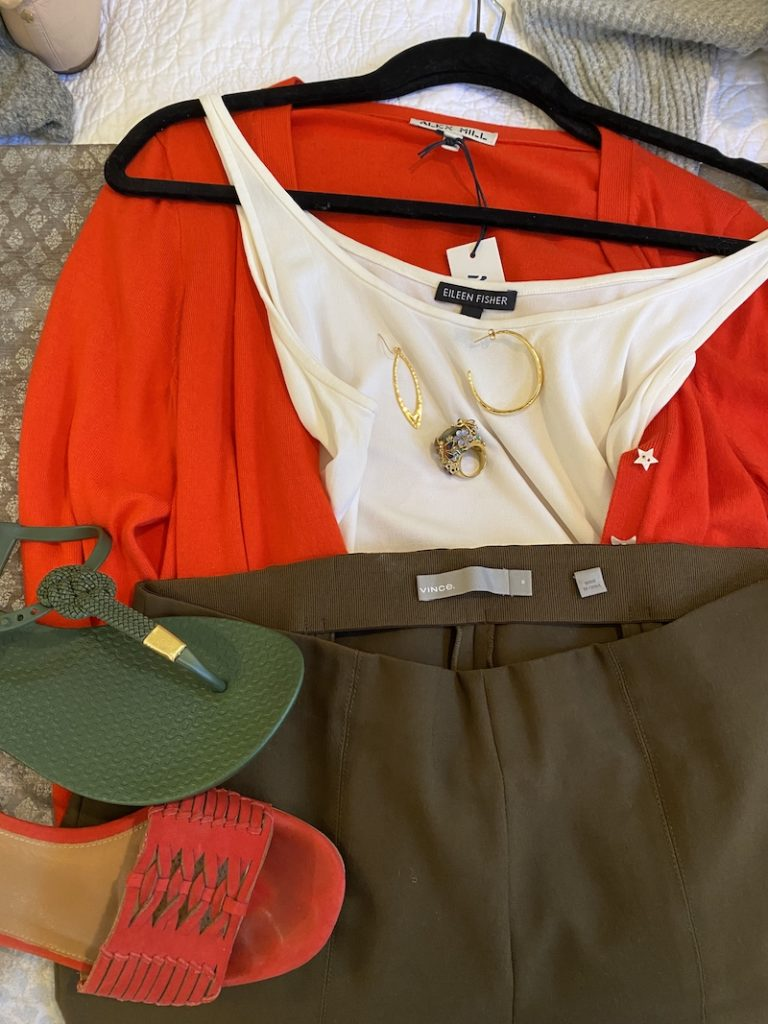 Eileen Fisher white tank top, Vince olive green pants, Alex Hill red cardigan, Corso Como red sandals, Ipanema green sandals, gold hoops, multi color statement ring