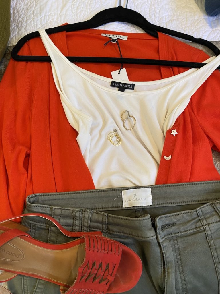Eileen Fisher white tank top, Caslon sage green pants, Alex Hill red cardigan, Corso Como red sandal, mixed metal hoops, gold rings