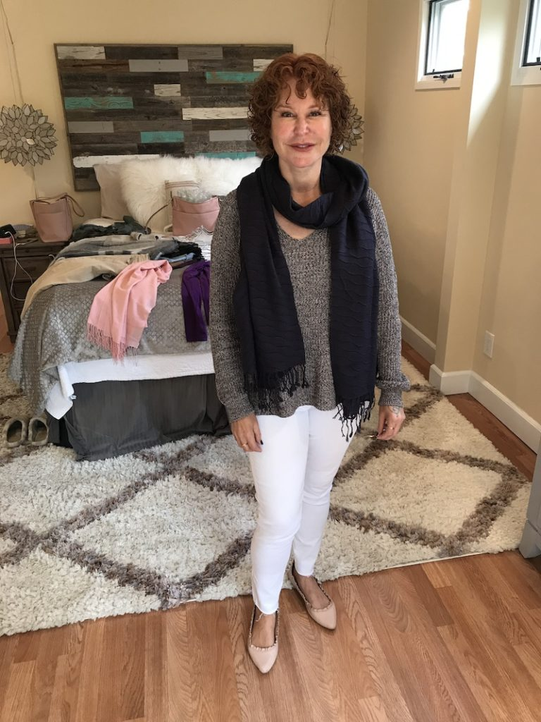 navy scarf, Michael Stars grey sweater, adriano goldschmied white jeans, kate spade pink ruffle flats