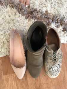 Kate Spade pink ruffle flats, grey boots, L'AmourDesPieds silver sneakers