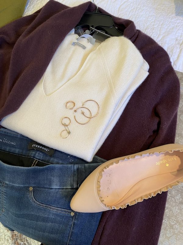 Vince white sweater, Liverpool blue jeggings, Kate Spade pink ruffle flats, Neiman Marcus purple sweater, gold hoops, gold rings