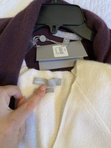Vince White Sweater, Neiman Marcus purple cardigan