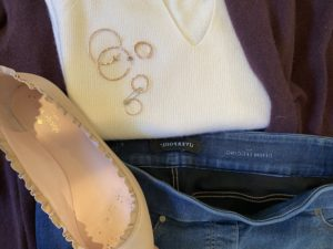 Vince white sweater, Liverpool blue jeggings, gold hoops, gold rings, Kate Spate ruffle flats