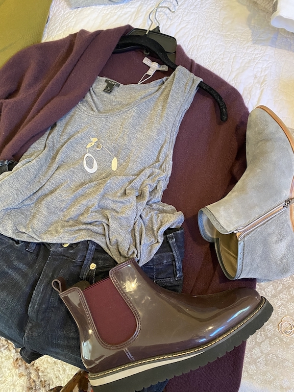 J crew grey tank top, Good American dark blue jeans, Neiman Marcus purple cardigan sweater, Italeau grey boots, Cougar burgundy rain boots